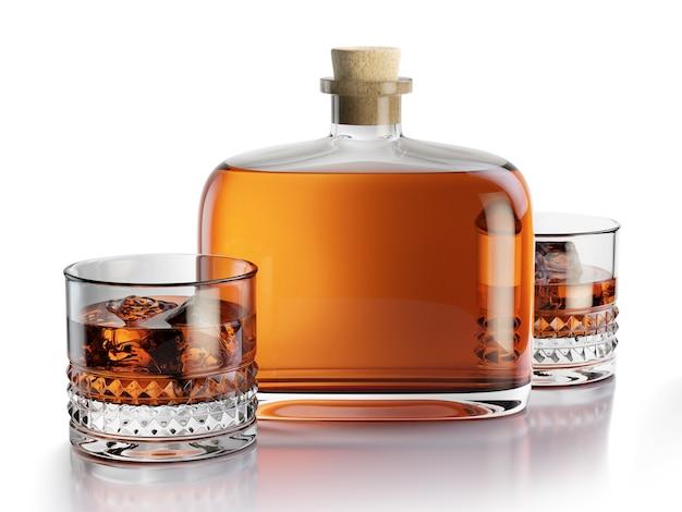 Composizione resa 3d con bottiglia di whisky e bicchieri