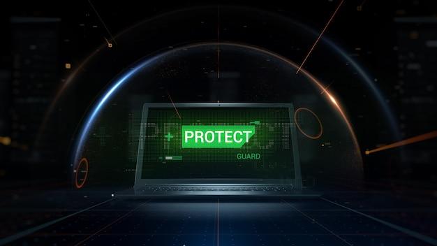 3d визуализации концепции фон. хакер атакует ноутбук. частицы символизируют угрозу, которая поражает защищенный сферический щит, закрывающий цифровой компьютер.