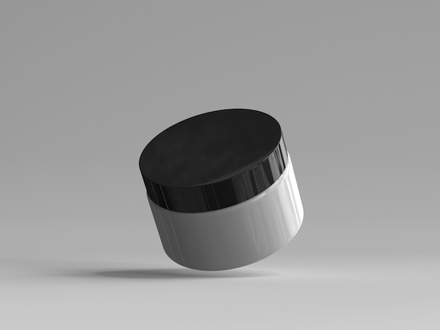 3d rendered cosmetic jar without a label