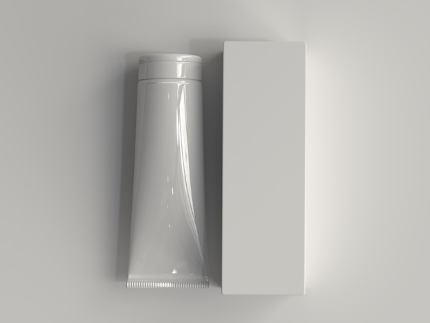 3d rendered cosmetic tube with box without a label