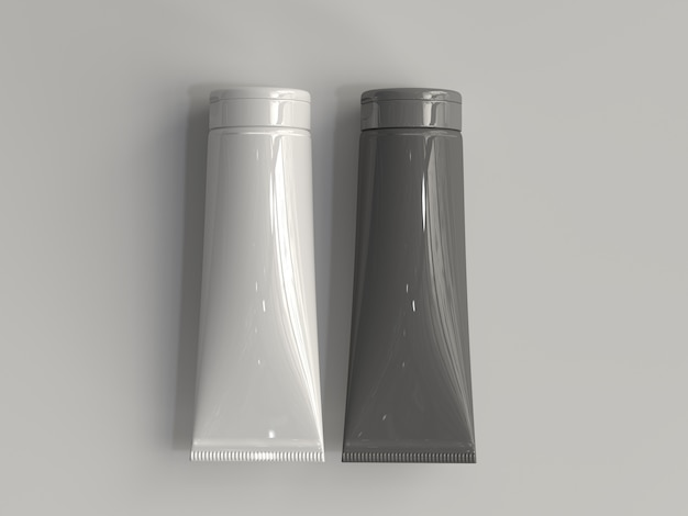 3d rendered cosmetic tube without a label
