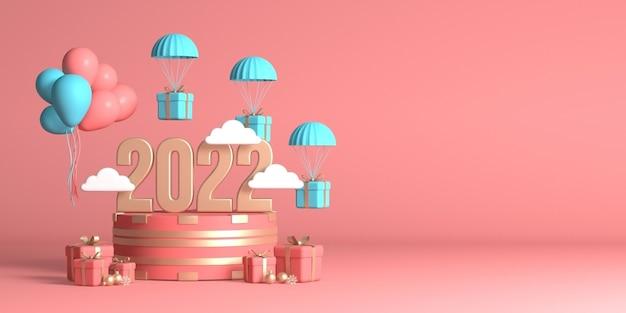 2022년 새해 복 많이 받으세요 복사 공간을 위한 3d 렌더링된 디자인