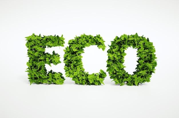 多くの葉で構成されるテキストの3dレンダリングされた生態学的イメージ