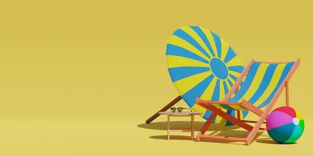 3d rendered empty sandy beach sun bed or lounger and beach umbrella and balls on yellow background