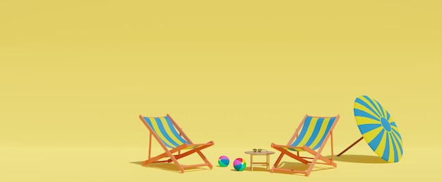 3d rendered empty sandy beach two sun beds or loungers on yellow background