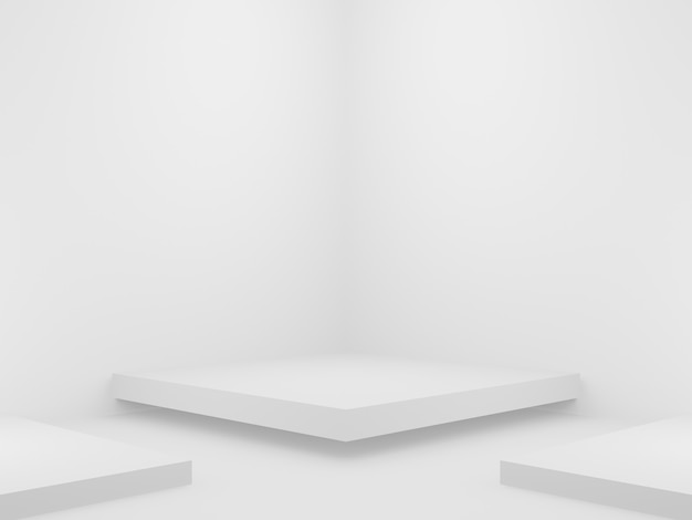 3d rendered geometric product stand white corner background