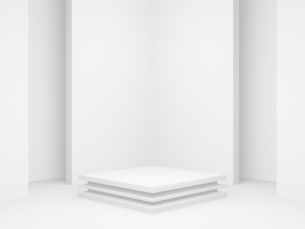 3d rendered geometric product stand. white corner background