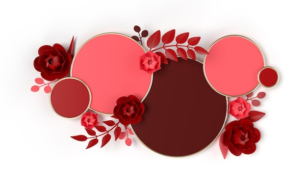 3d rendered geometric shapes podium with flowers and leaves in paper art style