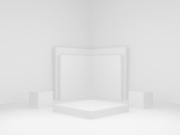 3dレンダリングされた幾何学的ステージ。白いコーナーの背景