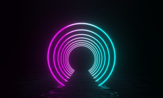 3d-рендеринг туннеля из светящегося неонового света