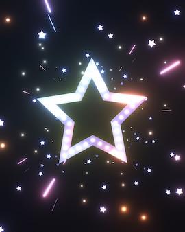 深い宇宙空間で3dレンダリングされた輝く星と光の筋