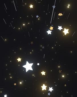 深い宇宙空間に3dレンダリングされた輝く星と光の筋