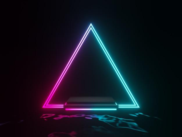 3dレンダリングされたグラデーションの輝くネオンフレーム