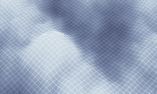 Серая топографическая горная сетка с 3d-рендерингом