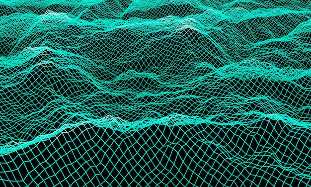 3d 렌더링 녹색 지형 와이어 프레임. 산 그리드.