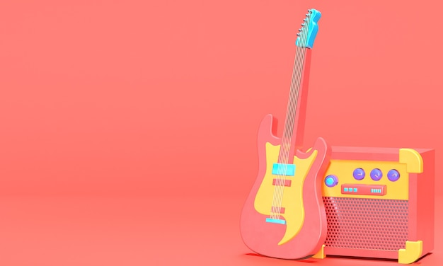 3d rendered guitar with sound system in empty red room