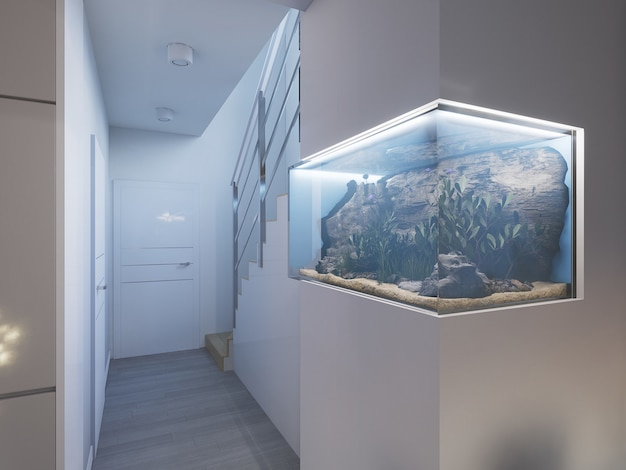 3d rendered hallway with aquarium