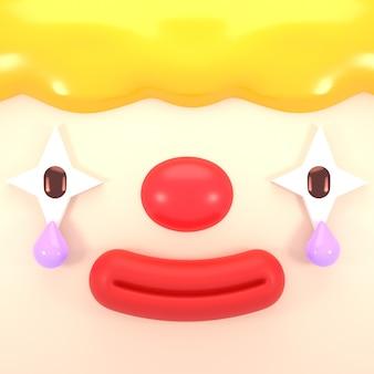 눈물 근접 촬영으로 3d 렌더링 된 행복 한 얼굴 광대