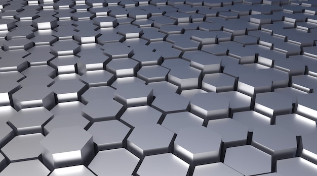 3d rendered hexagonal abstract metal architectural background