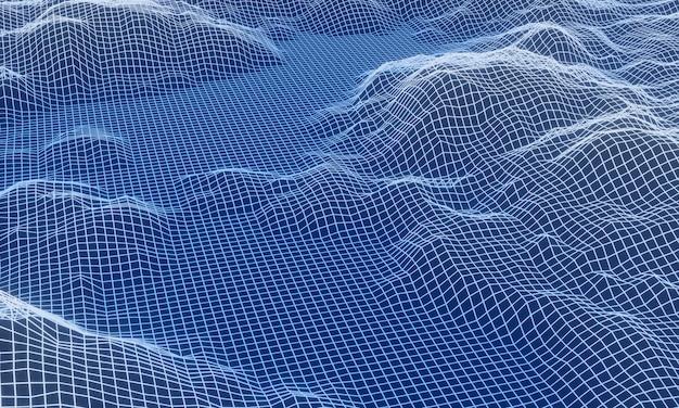 3dレンダリングされた氷の山のグリッド。抽象的な地形。