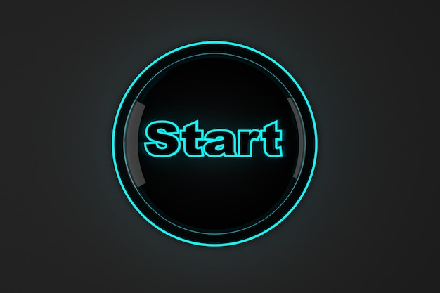 3d rendered illustration of a glowing start button.