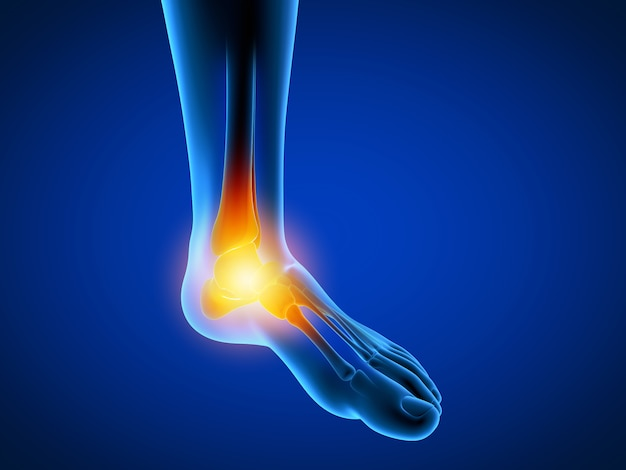 3d rendered illustration of a man having a painful foot