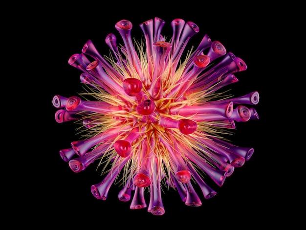 3d визуализации иллюстрация универсального вируса, изолированных на черном.