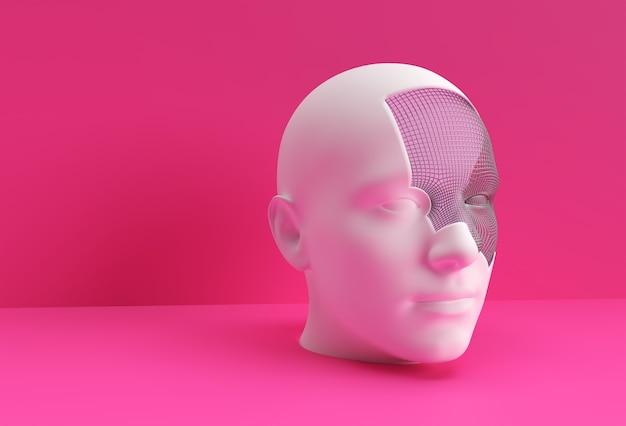 인간의 얼굴 디자인의 3d 렌더링 된 그림입니다.