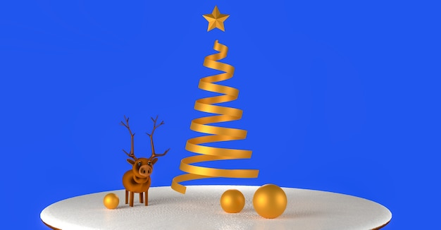 3d визуализированная иллюстрация модельного оленя и абстрактных золотых рождественских елок на заснеженном пьедестале.