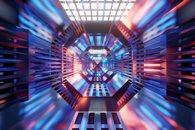 3d 렌더링 우주선 또는 역의 공상 과학 건축 터널의 그림.