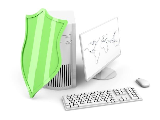 3d визуализация иллюстрация экранированной и защищенной настольной компьютерной системы.