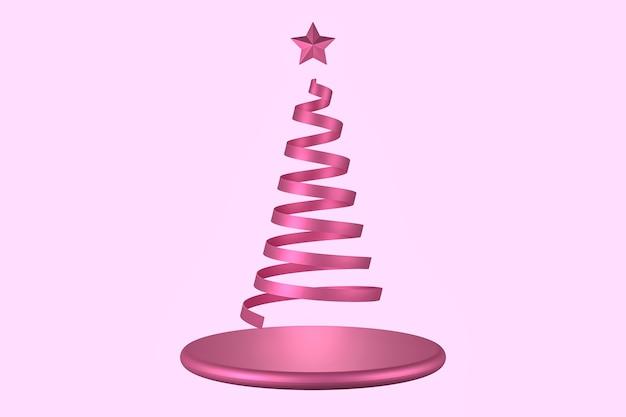 Трехмерная иллюстрация полоски розовой ленты, скручивающейся в форму елки с розовой звездой и пьедесталом.