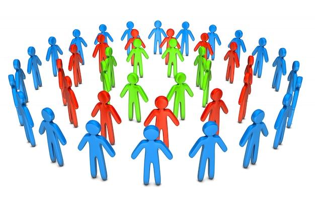 Иллюстрация представленная 3d кругов различных друзей стоя совместно