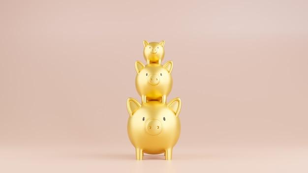 3d는 스택에 있는 3개의 금 돼지 저금통의 그림을 렌더링합니다. 비즈니스 및 금융 개념입니다.