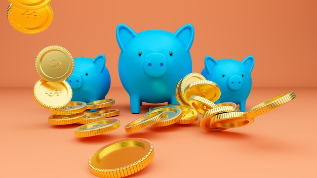 3d rendered illustration of three blue piggy banks and falling golden coins