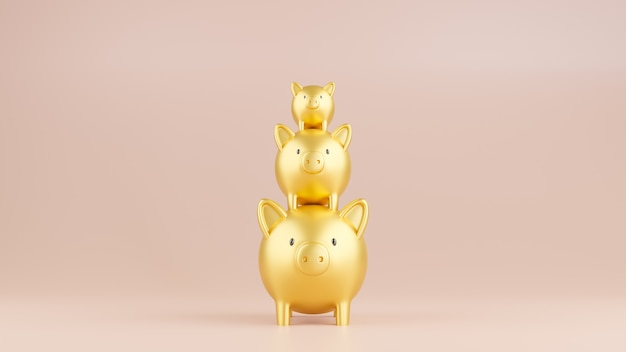 3d rendered illustration of three gold piggy banks in a stack.  business and finance concept.