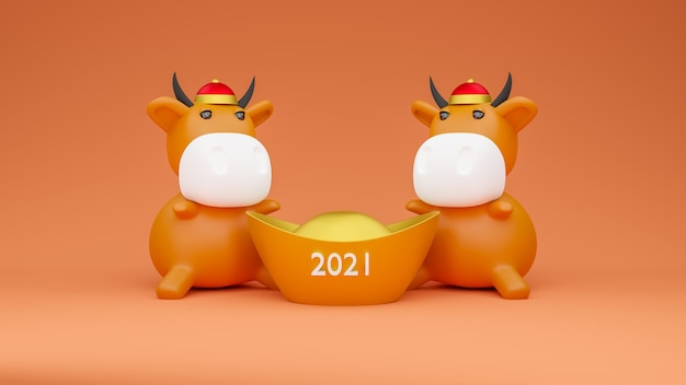 3d rendered illustration of two cow models with a chinese gold money ingot.