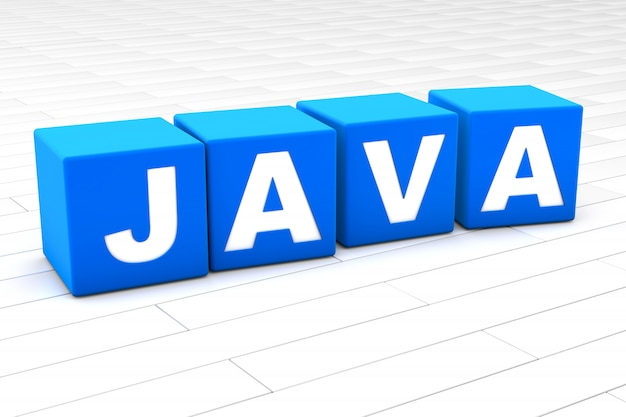 3d rendered illustration of the word java with cubes