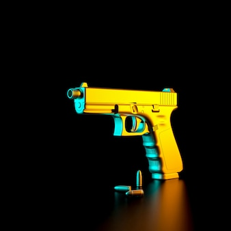 3d rendered image of a 9mm pistol and bullets