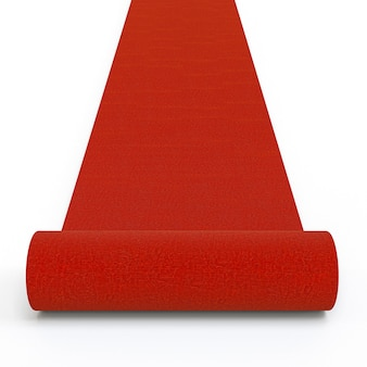 3d изображение красной ковровой дорожки. Premium Фотографии