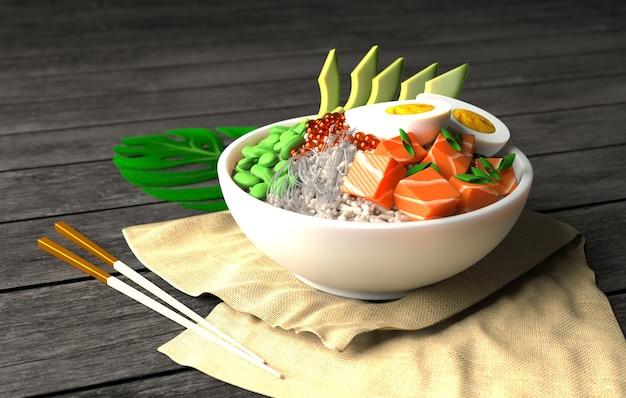 Трехмерное изображение гавайской миски poke poke bow с рисом, авокадо, яйцом, луком и бобами