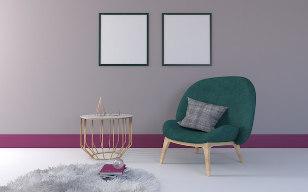 3d rendered of interior of modern living room with chair and table