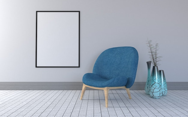 3d rendered of interior of modern living room with chair