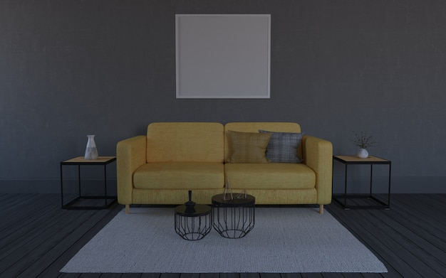 3d rendered of interior of modern living room with sofa - couch and table