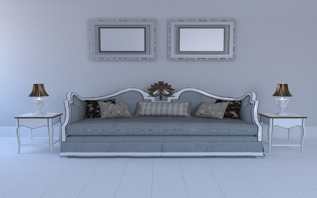 3d rendered of interior of modern living room with sofa - couch