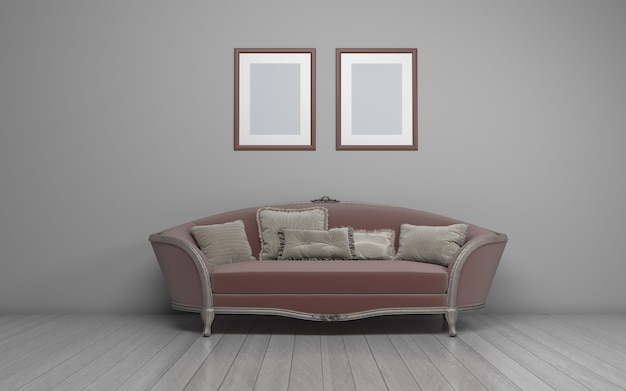 3d rendered of interior of modern living room with sofa