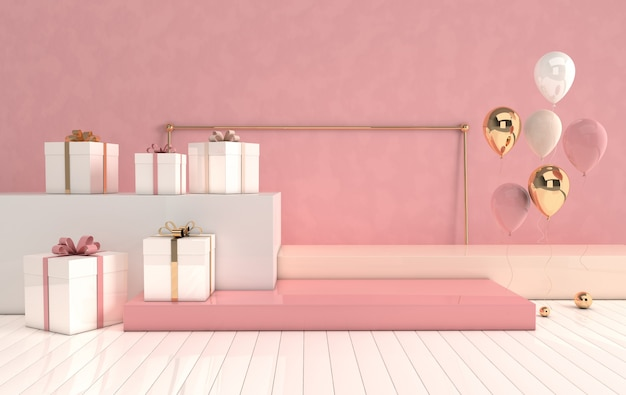 3d rendered interior with geometric shapes, podium on the floor and gift box, glossy balloons