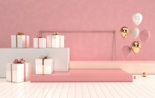 幾何学的形状、床とギフトボックスの表彰台、光沢のある風船を備えた3dレンダリングされたインテリア Premium写真
