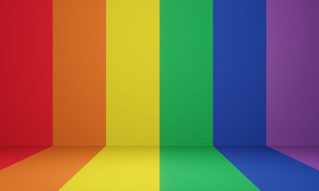 3d rendered lgbtq+ stage. rainbow room.