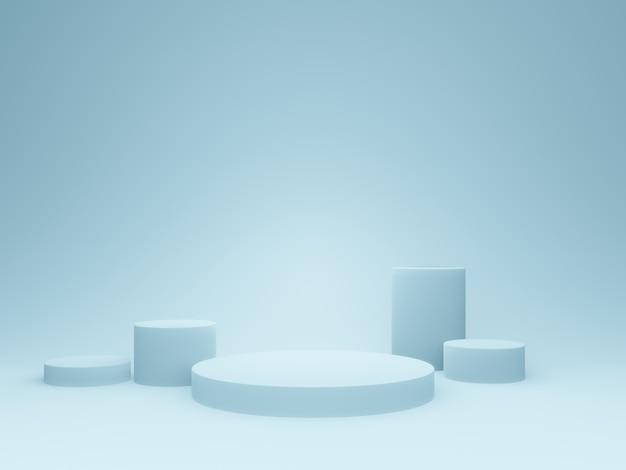 3d 렌더링 밝은 파란색 연단.